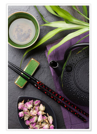 Póster Premium  Asian sushi chopsticks, tea and teapot