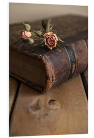 Quadro em PVC  Dry rose and old book - Jaroslaw Blaminsky