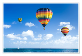 Póster Premium  Colorful hot air balloons on the blue sea