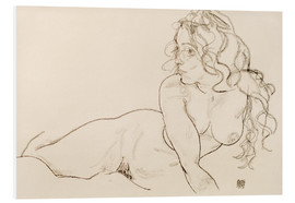 Quadro em PVC  Supporting herself, female with long hair - Egon Schiele
