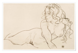 Póster Premium  Supporting herself, female with long hair - Egon Schiele