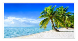Póster Premium  Holiday at the beach with palm trees and sea - Jan Christopher Becke