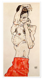 Póster Premium Male nude, standing, with red loincloth