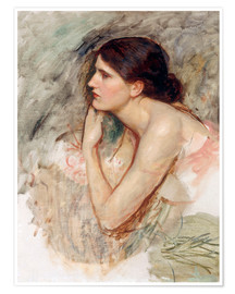 Póster Premium  Study on the Sorceress - John William Waterhouse