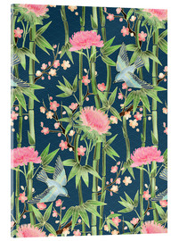 Quadro em acrílico  bamboo birds and blossoms on teal - Micklyn Le Feuvre