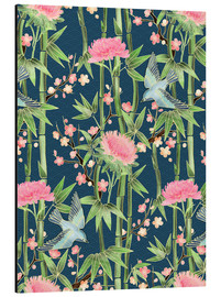 Quadro em alumínio  bamboo birds and blossoms on teal - Micklyn Le Feuvre