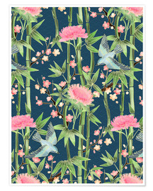 Póster Premium  bamboo birds and blossoms on teal - Micklyn Le Feuvre