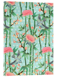 Quadro em acrílico  bamboo birds and blossoms on mint - Micklyn Le Feuvre