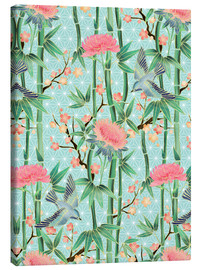 Quadro em tela  bamboo birds and blossoms on mint - Micklyn Le Feuvre