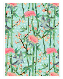 Póster Premium  bamboo birds and blossoms on mint - Micklyn Le Feuvre