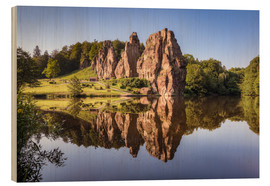 Quadro de madeira  Rocks with reflection in the lake - Michael Valjak