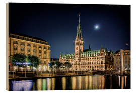 Quadro de madeira  Moon over the town hall in Hamburg - Tanja Arnold Photography