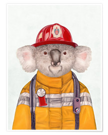 Póster Premium  Koala Firefighter - Animal Crew