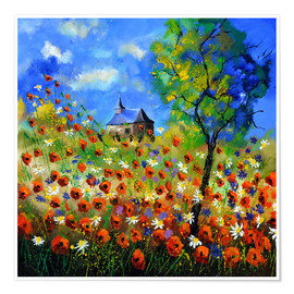 Póster Premium Poppy field with church