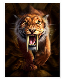 Póster Premium  Full on view of a Saber-toothed Tiger - Jerry LoFaro
