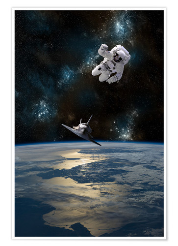 Póster Premium At astronaut drifting in space