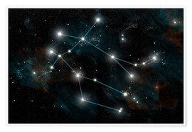 Póster Premium  Artist's depiction of the constellation Gemini the Twins. - Marc Ward