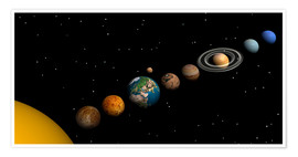Póster Premium Planets of the solar system