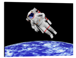 Quadro em alumínio  Astronaut floating in outer space above planet Earth - Elena Duvernay
