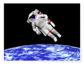Póster Premium  Astronaut floating in outer space above planet Earth - Elena Duvernay