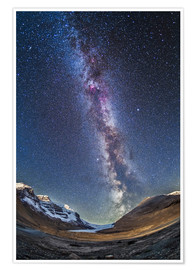 Póster Premium  Milky Way over the Columbia Icefields in Jasper National Park, Canada. - Alan Dyer