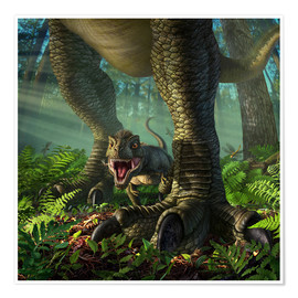 Póster Premium  A baby Tyrannosaurus Rex roars while safely standing between it's mother's legs. - Jerry LoFaro