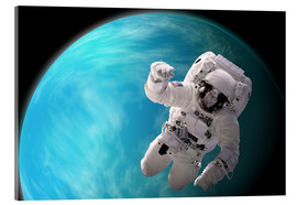 Quadro em acrílico  Artist's concept of an astronaut floating in outer space by a water covered planet. - Marc Ward
