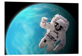 Quadro em PVC  Artist's concept of an astronaut floating in outer space by a water covered planet. - Marc Ward