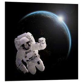 Quadro em PVC  Astronaut floating in space as the sun rises on to Earth-like planet. - Marc Ward