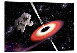 Quadro em acrílico  Artist's concept of an astronaut falling towards a black hole in outer space. - Marc Ward