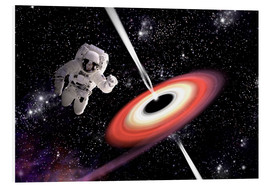 Quadro em PVC  Artist's concept of an astronaut falling towards a black hole in outer space. - Marc Ward