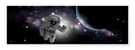 Póster Premium  Astronaut floating in outer space - Marc Ward