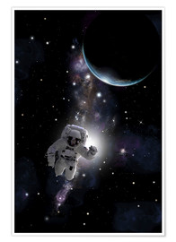 Póster Premium Artist's concept of an astronaut floating in outer space.