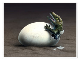 Póster Premium  An early dinosaur ancester, Seymouria, hatches from an egg. - Jerry LoFaro