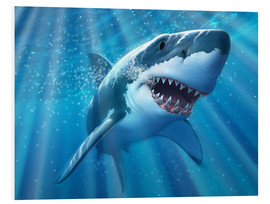 Quadro em PVC  A Great White Shark with sunrays just below the surface. - Jerry LoFaro
