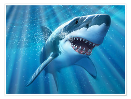Póster Premium  A Great White Shark with sunrays just below the surface. - Jerry LoFaro