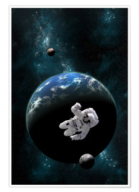 Póster Premium  An astronaut floating in front of a water covered world with two moons. - Marc Ward