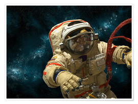 Póster Premium  A cosmonaut against a background of stars. - Marc Ward
