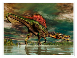 Póster Premium  Spinosaurus from the Cretaceous period - Philip Brownlow