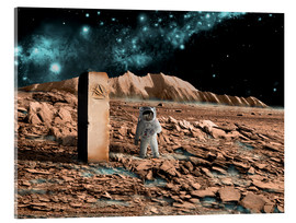 Quadro em acrílico  Astronaut on an alien world discovers an artifact that indicates past intelligent life. - Marc Ward