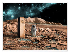 Póster Premium  Astronaut on an alien world discovers an artifact that indicates past intelligent life. - Marc Ward