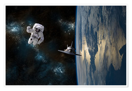 Póster Premium  An astronaut drifting in space is rescued by a space shuttle orbiting Earth. - Marc Ward