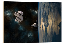 Quadro de madeira  An astronaut drifting in space is rescued by a space shuttle orbiting Earth. - Marc Ward