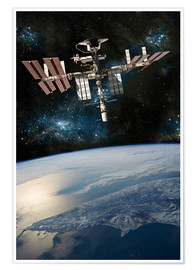 Póster Premium  Space shuttle docked at the International Space Station. - Marc Ward