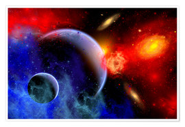 Póster Premium A mixture of colorful stars, planets, nebulae and galaxies