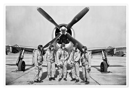 Póster Premium Test pilots in front of a P-47 Thunderbolt