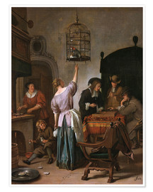 Póster Premium  Room with a woman and a parrot - Jan Havicksz. Steen