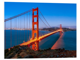 Quadro em PVC  Night shot of the Golden Gate Bridge in San Francisco California, USA - Jan Christopher Becke
