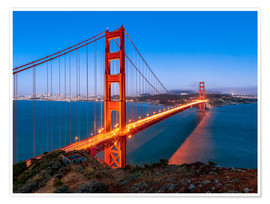 Póster Premium  Night shot of the Golden Gate Bridge in San Francisco California, USA - Jan Christopher Becke