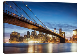 Quadro em tela  Brooklyn bridge and Manhattan at night, New York city, USA - Matteo Colombo